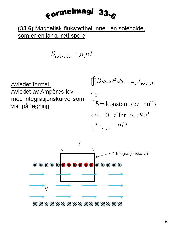 6 (33.6) Magnetisk flukstetthet inne i en solenoide, som er en lang, rett spole Avledet formel. Avledet av Ampères lov med integrasjonskurve som vist