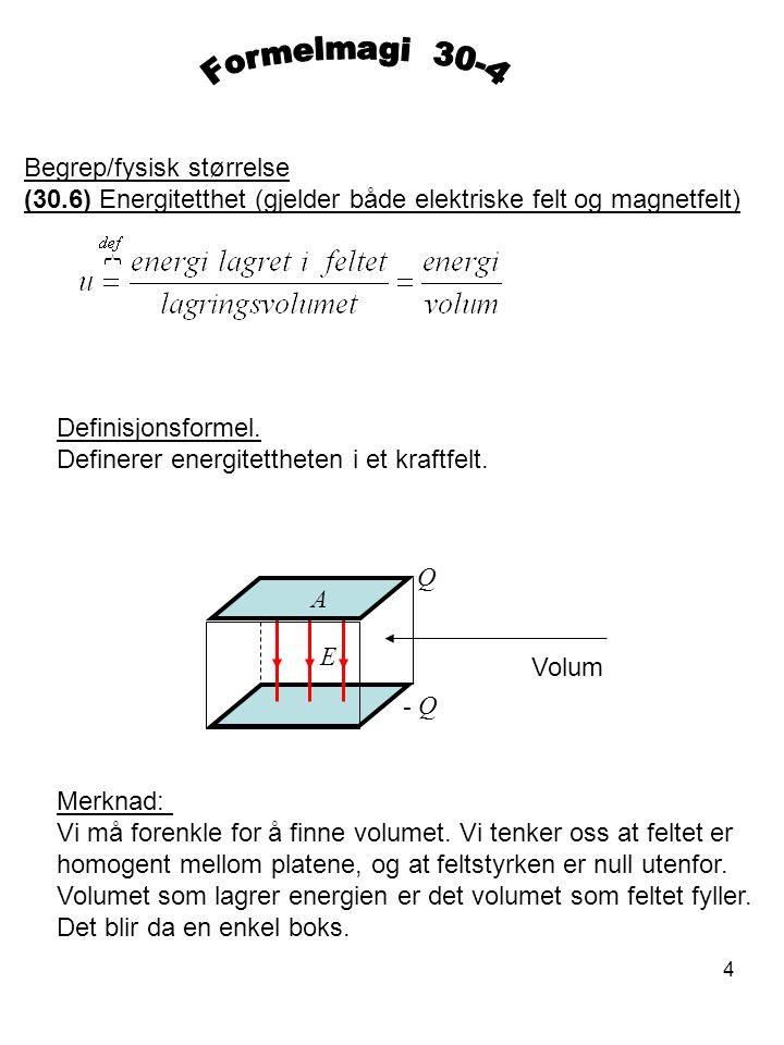 4 Begrep/fysisk størrelse (30.6) Energitetthet (gjelder både elektriske felt og magnetfelt) Definisjonsformel. Definerer energitettheten i et kraftfel