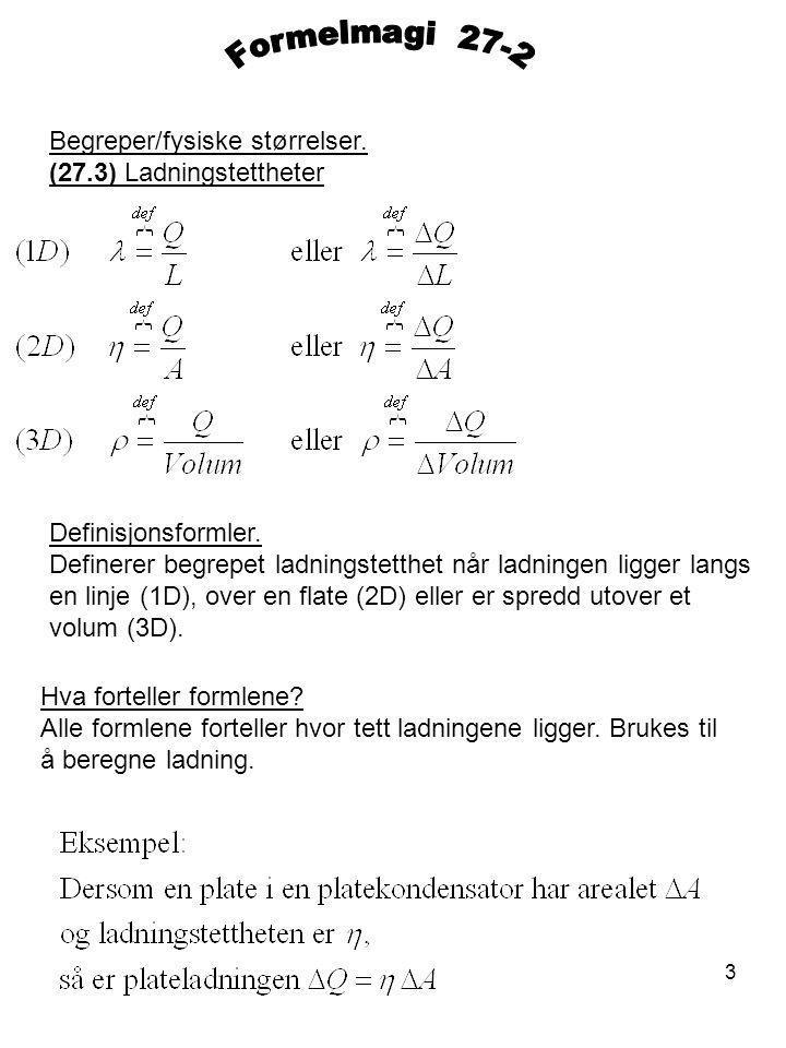 3 Begreper/fysiske størrelser.(27.3) Ladningstettheter Definisjonsformler.