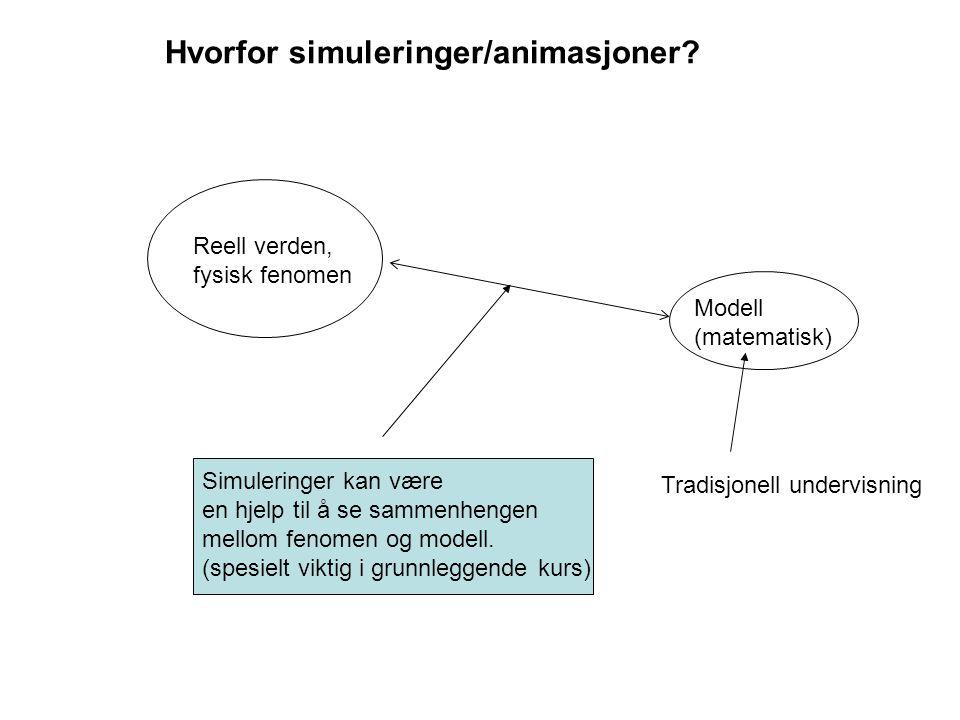 Idéer om utforming: Simuleringene skal være enkle og må tydelig vise den prosessen som skal modelleres.