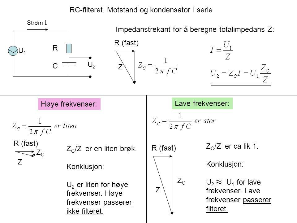RC-filteret. Motstand og kondensator i serie U1U1 U2U2 RCRC Impedanstrekant for å beregne totalimpedans Z: R (fast) Z Strøm I Høye frekvenser: Lave fr