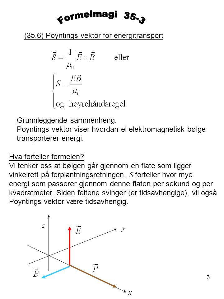 3 (35.6) Poyntings vektor for energitransport Grunnleggende sammenheng. Poyntings vektor viser hvordan el elektromagnetisk bølge transporterer energi.
