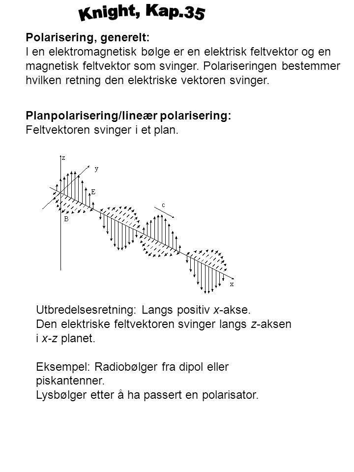 Polarisering, generelt: I en elektromagnetisk bølge er en elektrisk feltvektor og en magnetisk feltvektor som svinger. Polariseringen bestemmer hvilke