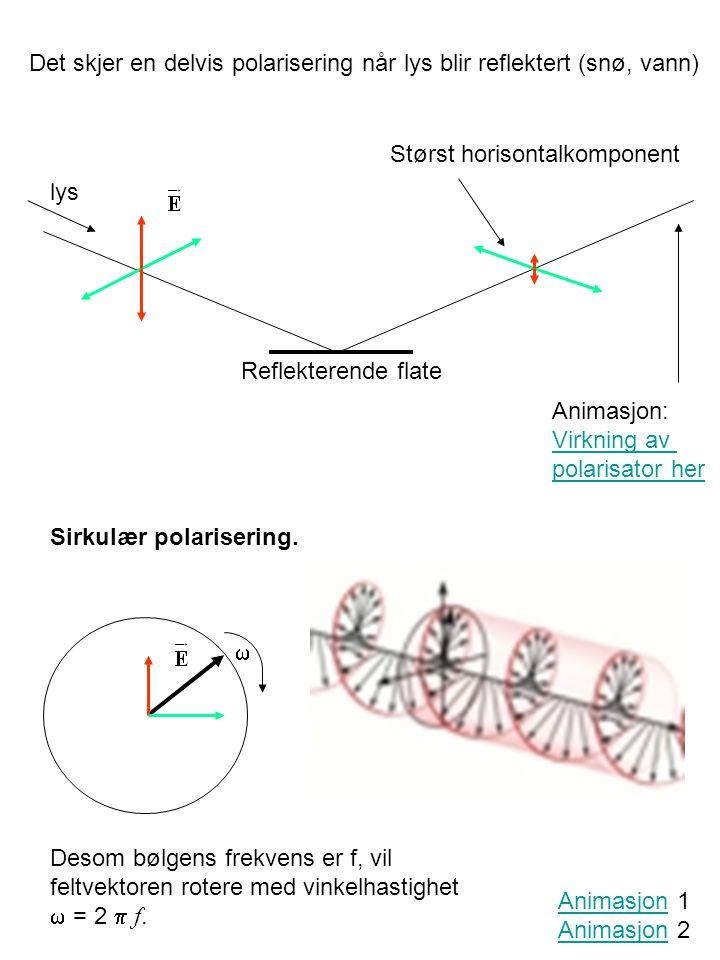 Det skjer en delvis polarisering når lys blir reflektert (snø, vann) Reflekterende flate lys Størst horisontalkomponent Sirkulær polarisering.  Anima