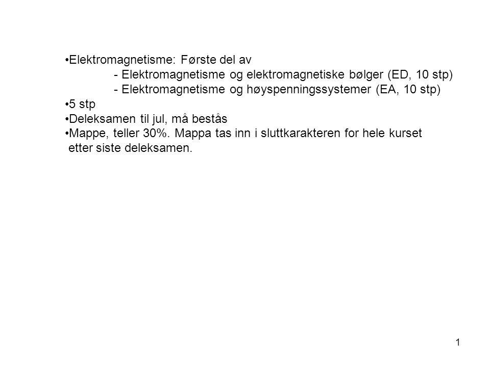 1 Elektromagnetisme: Første del av - Elektromagnetisme og elektromagnetiske bølger (ED, 10 stp) - Elektromagnetisme og høyspenningssystemer (EA, 10 st