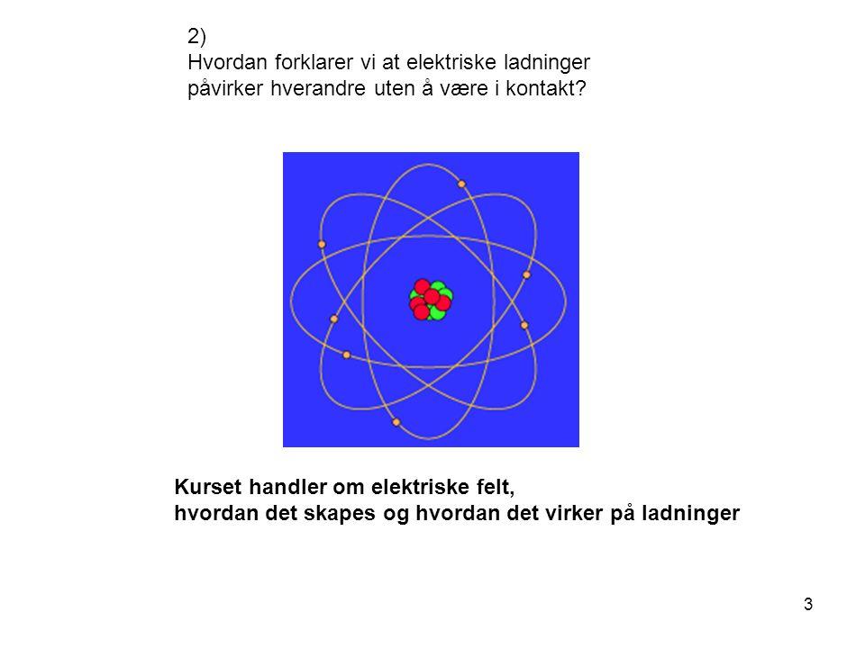 3 2) Hvordan forklarer vi at elektriske ladninger påvirker hverandre uten å være i kontakt? Kurset handler om elektriske felt, hvordan det skapes og h