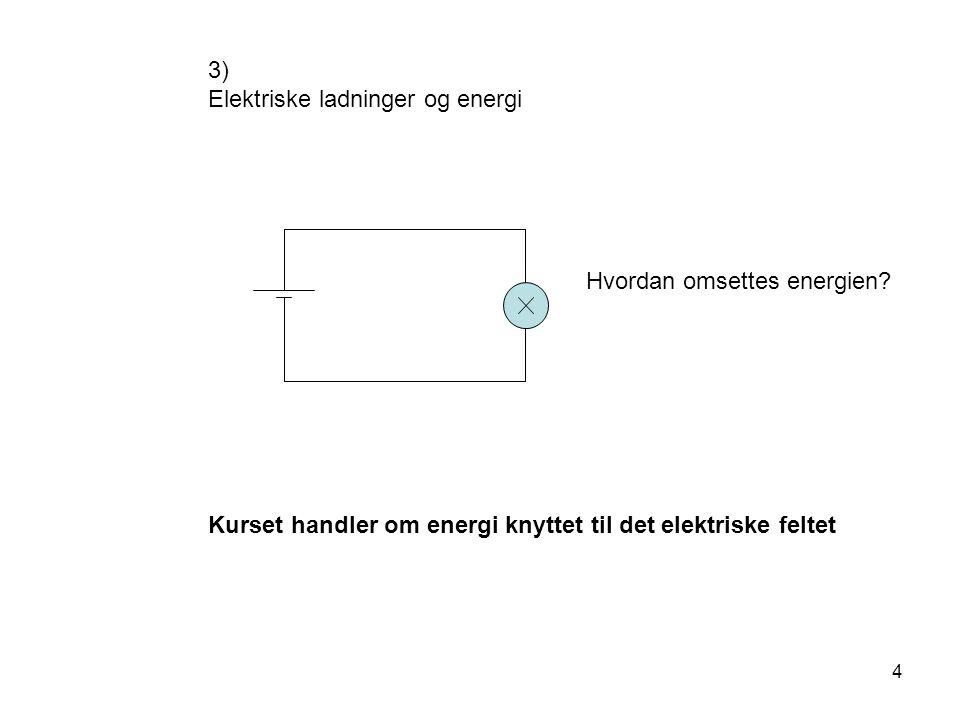 4 3) Elektriske ladninger og energi Hvordan omsettes energien? Kurset handler om energi knyttet til det elektriske feltet