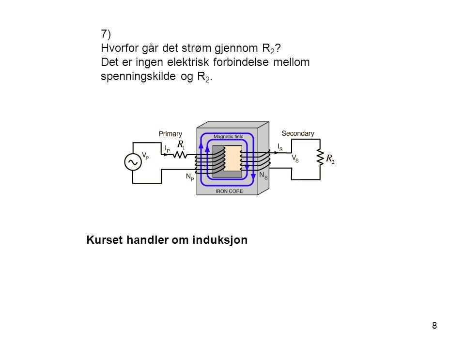 8 7) Hvorfor går det strøm gjennom R 2 ? Det er ingen elektrisk forbindelse mellom spenningskilde og R 2. Kurset handler om induksjon