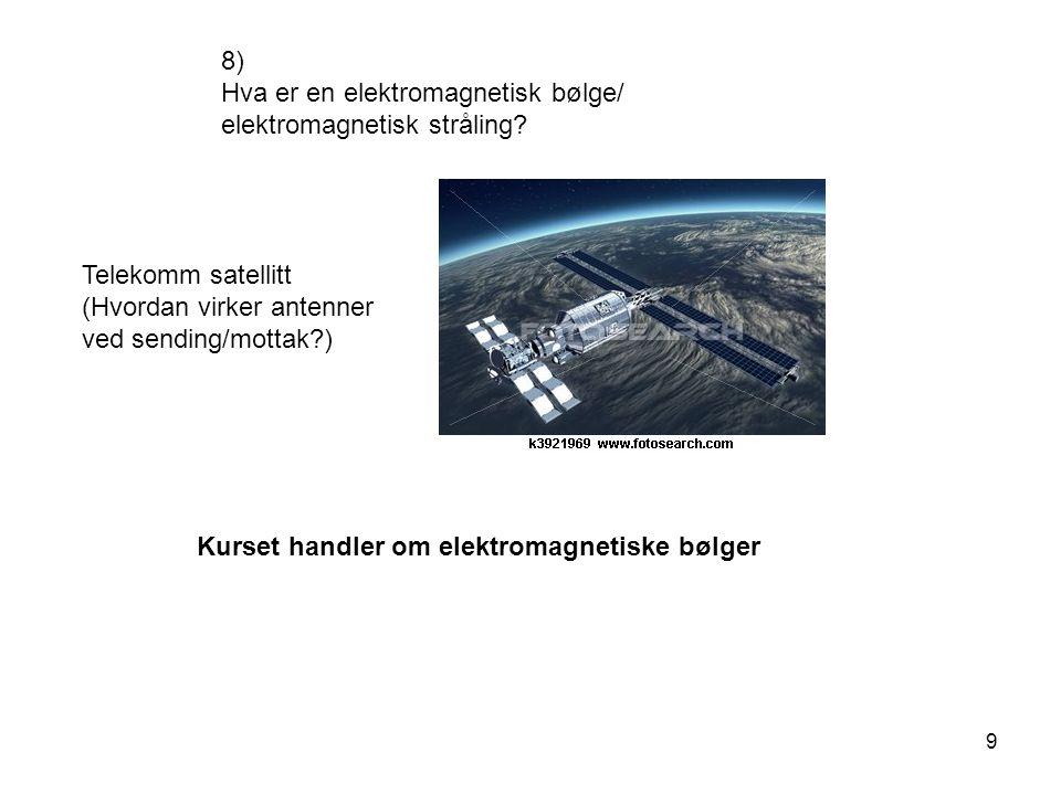 9 8) Hva er en elektromagnetisk bølge/ elektromagnetisk stråling? Telekomm satellitt (Hvordan virker antenner ved sending/mottak?) Kurset handler om e