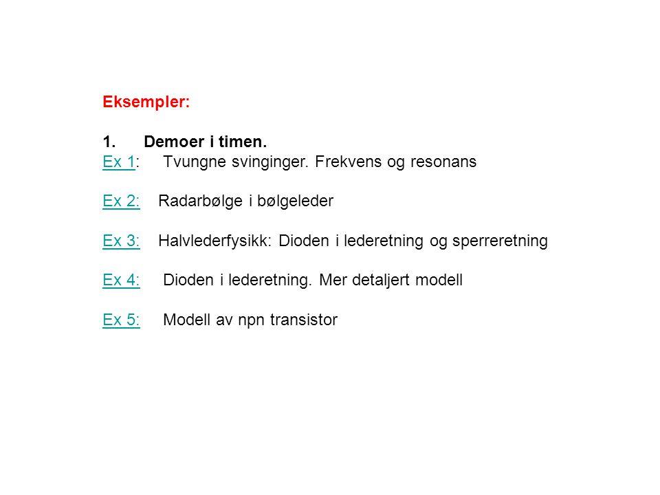 Eksempler: 1.Demoer i timen. Ex 1Ex 1: Tvungne svinginger.