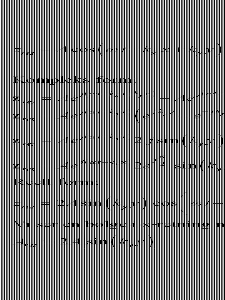 Dette er samme type formel som amplituden på en svingende streng.
