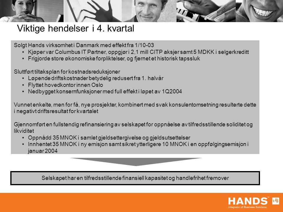 Viktige hendelser i 4. kvartal Solgt Hands virksomhet i Danmark med effekt fra 1/10-03 Kjøper var Columbus IT Partner, oppgjør i 2,1 mill CITP aksjer