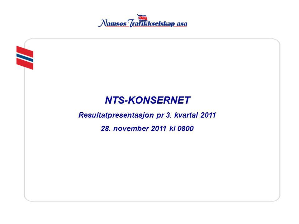 NTS asa Styre og daglig leder NTS Ambulanse as 100 % Namdalske as 100 % Konsernstaber på økonomi, kvalitet og personal Strategiske eierposter Siva Namsos Eiendom as 33,3%, Norsk Fisketransport as 25,3% FosenNamsos Sjø as 34 % Konsernstruktur: