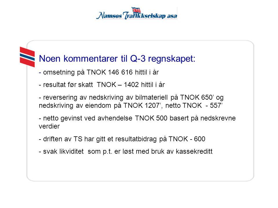 Noen kommentarer til Q-3 regnskapet: - omsetning på TNOK 146 616 hittil i år - resultat før skatt TNOK – 1402 hittil i år - reversering av nedskriving