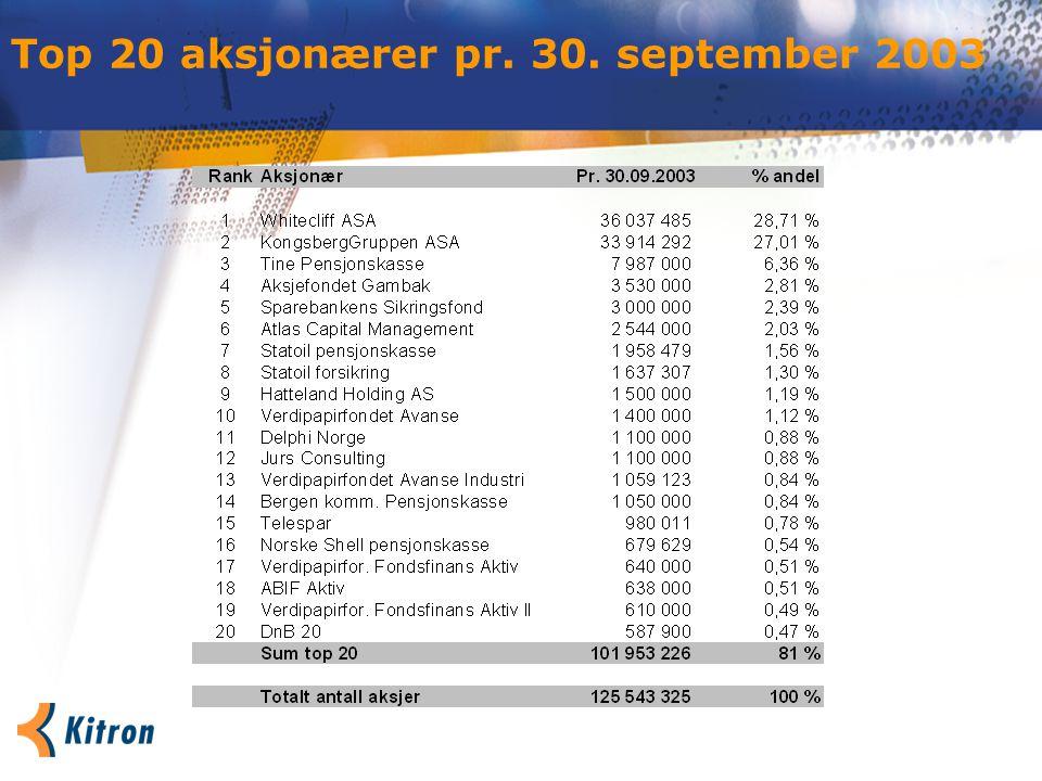 Top 20 aksjonærer pr. 30. september 2003