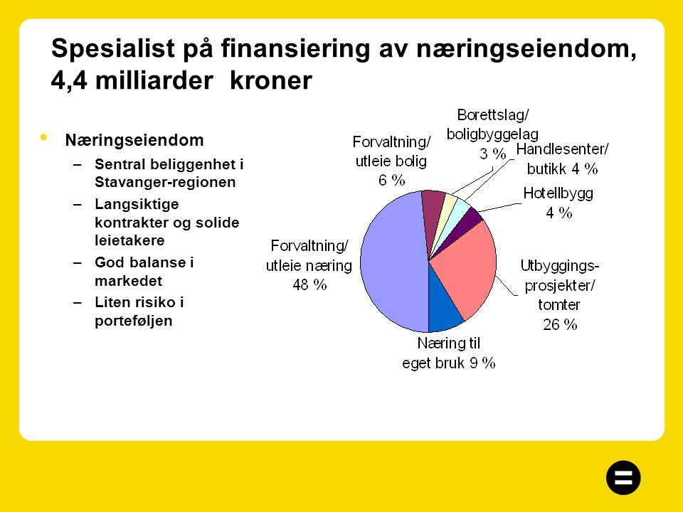 Diversifisert utlånsportefølje - men spesialist på finansiering av eiendom