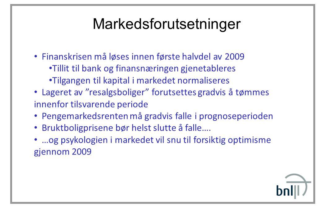 Markedsforutsetninger Finanskrisen må løses innen første halvdel av 2009 Tillit til bank og finansnæringen gjenetableres Tilgangen til kapital i marke