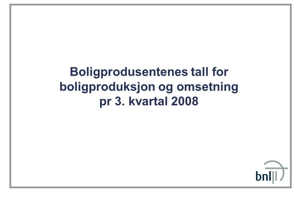 Boligprodusentenes tall for boligproduksjon og omsetning pr 3. kvartal 2008