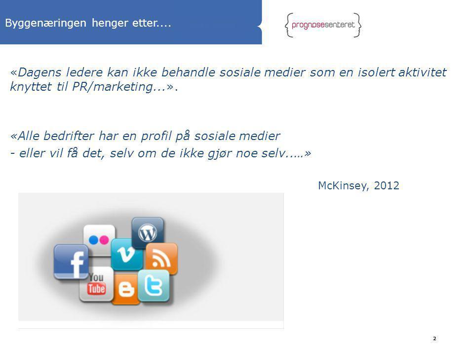 Byggenæringen henger etter.... «Dagens ledere kan ikke behandle sosiale medier som en isolert aktivitet knyttet til PR/marketing...». «Alle bedrifter