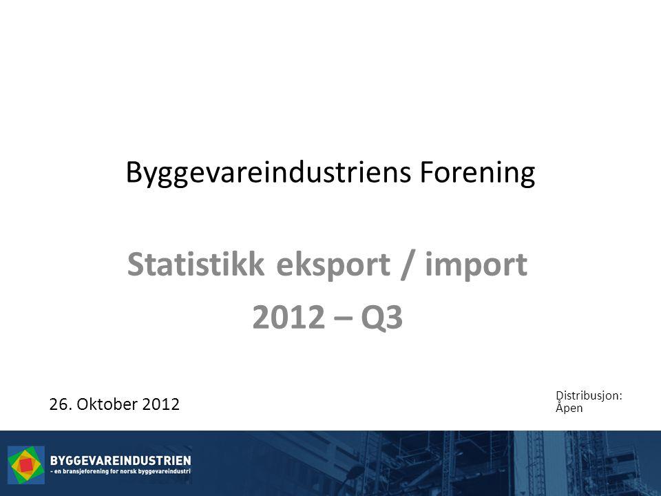 Byggevareindustriens Forening Statistikk eksport / import 2012 – Q3 26.