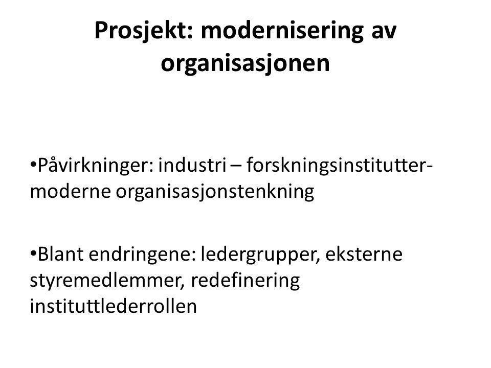 Prosjekt: modernisering av organisasjonen Påvirkninger: industri – forskningsinstitutter- moderne organisasjonstenkning Blant endringene: ledergrupper, eksterne styremedlemmer, redefinering instituttlederrollen