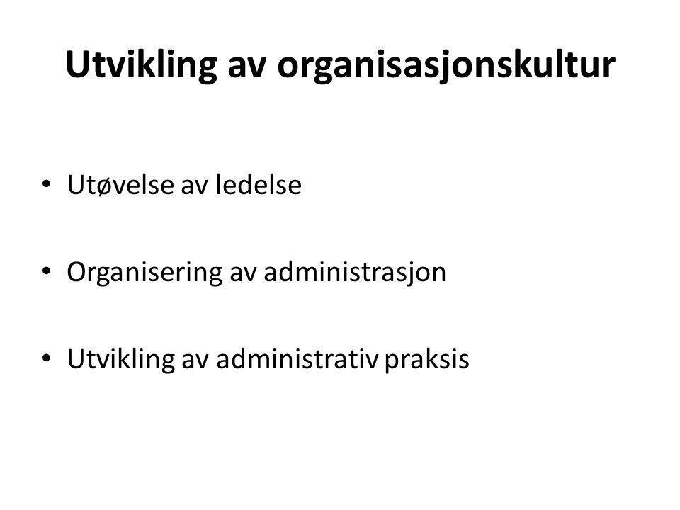 Utvikling av organisasjonskultur Utøvelse av ledelse Organisering av administrasjon Utvikling av administrativ praksis