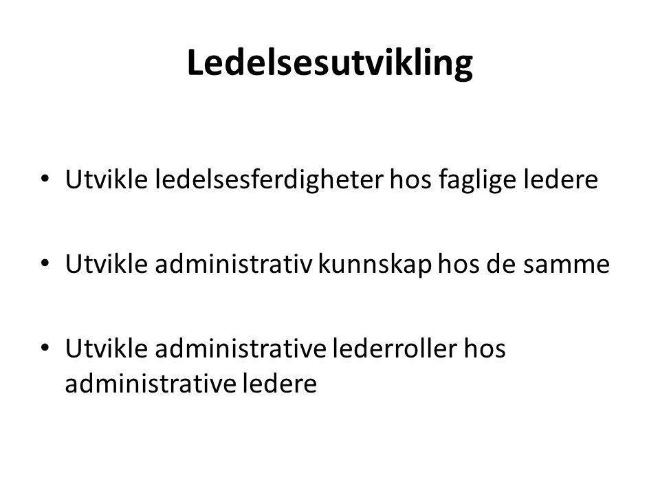 Ledelsesutvikling Utvikle ledelsesferdigheter hos faglige ledere Utvikle administrativ kunnskap hos de samme Utvikle administrative lederroller hos administrative ledere