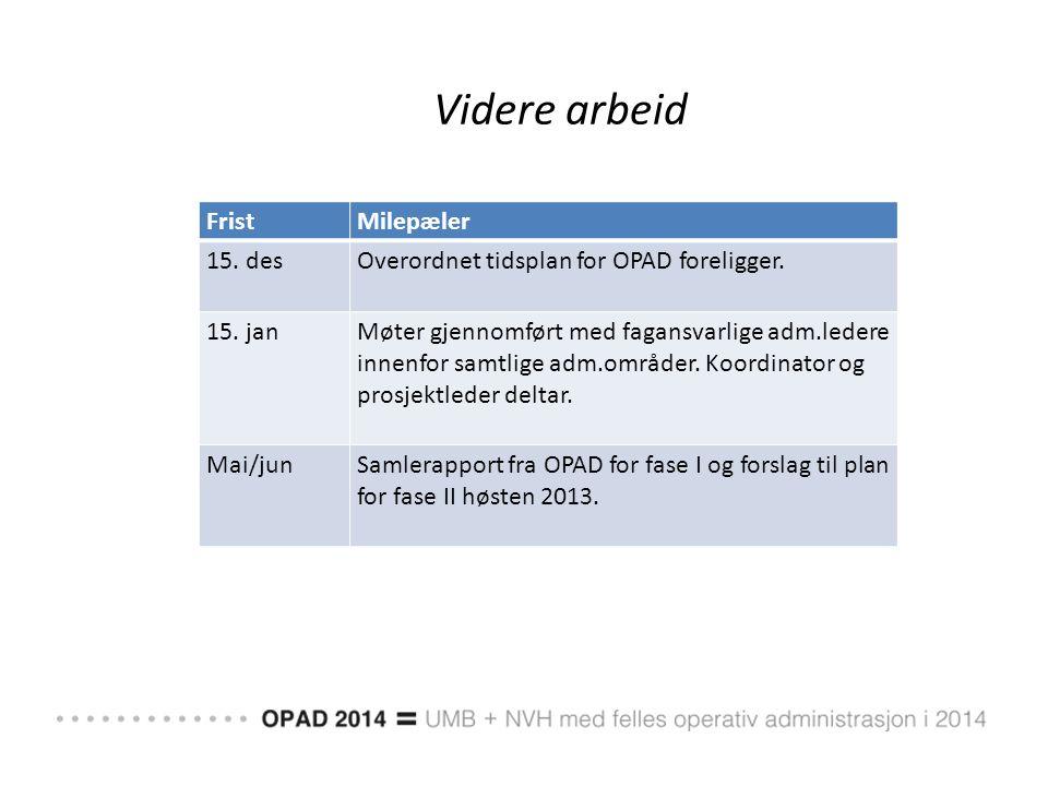 Videre arbeid FristMilepæler 15. desOverordnet tidsplan for OPAD foreligger. 15. janMøter gjennomført med fagansvarlige adm.ledere innenfor samtlige a