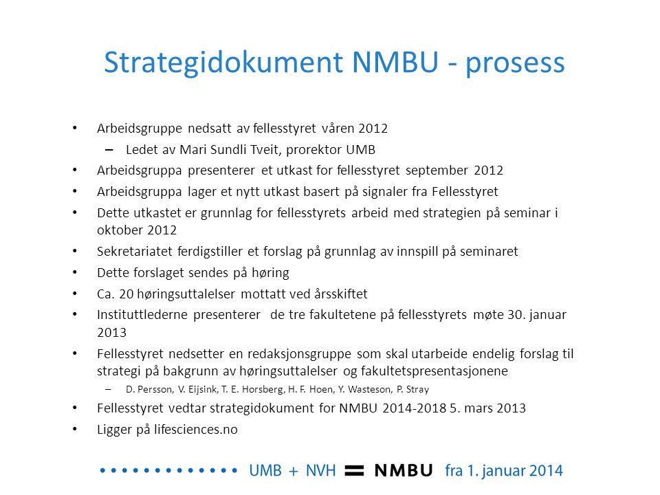 Strategidokument NMBU - prosess Arbeidsgruppe nedsatt av fellesstyret våren 2012 – Ledet av Mari Sundli Tveit, prorektor UMB Arbeidsgruppa presenterer