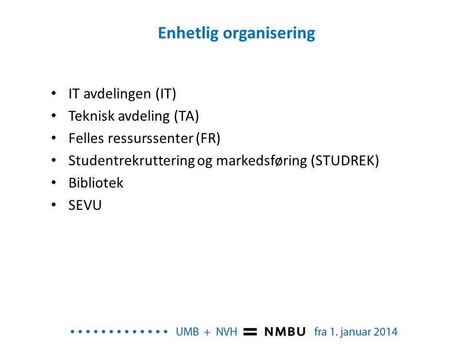 Enhetlig organisering IT avdelingen (IT) Teknisk avdeling (TA) Felles ressurssenter (FR) Studentrekruttering og markedsføring (STUDREK) Bibliotek SEVU