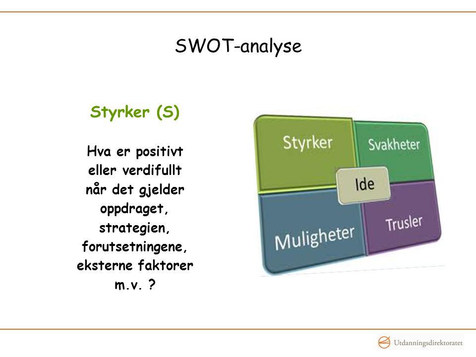 SWOT-analyse Styrker (S) Hva er positivt eller verdifullt når det gjelder oppdraget, strategien, forutsetningene, eksterne faktorer m.v.