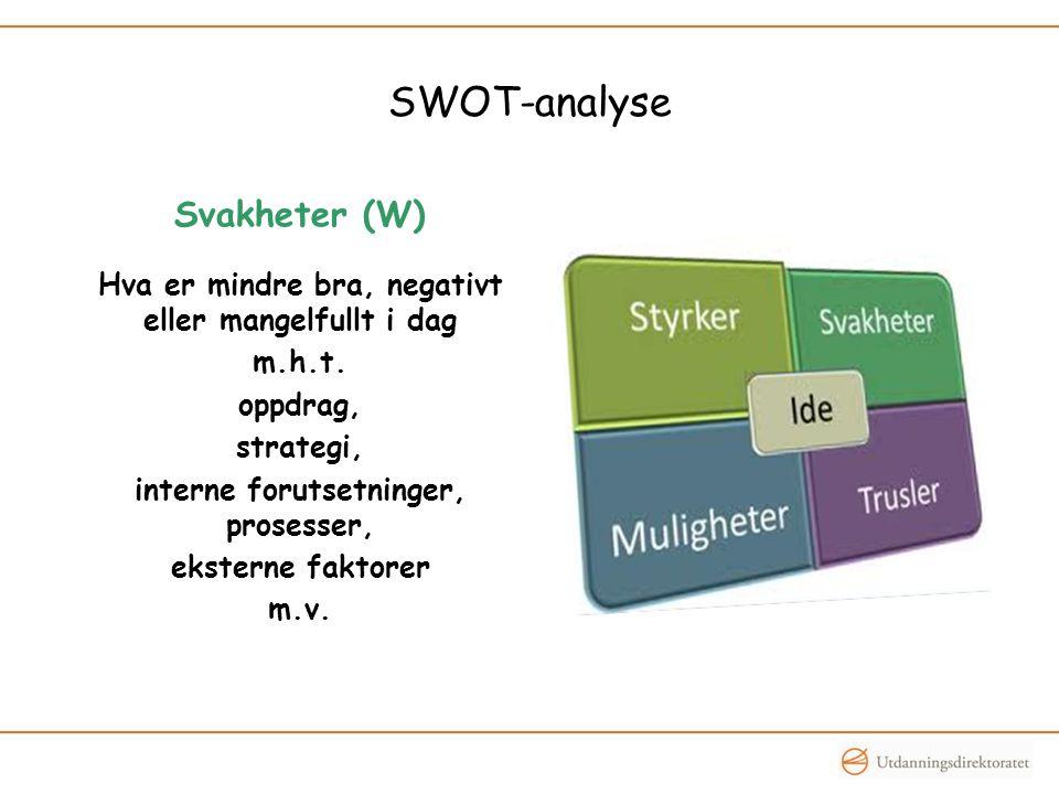 SWOT-analyse Svakheter (W) Hva er mindre bra, negativt eller mangelfullt i dag m.h.t.