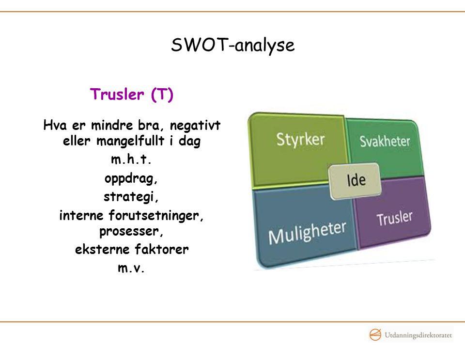 SWOT-analyse Trusler (T) Hva er mindre bra, negativt eller mangelfullt i dag m.h.t.