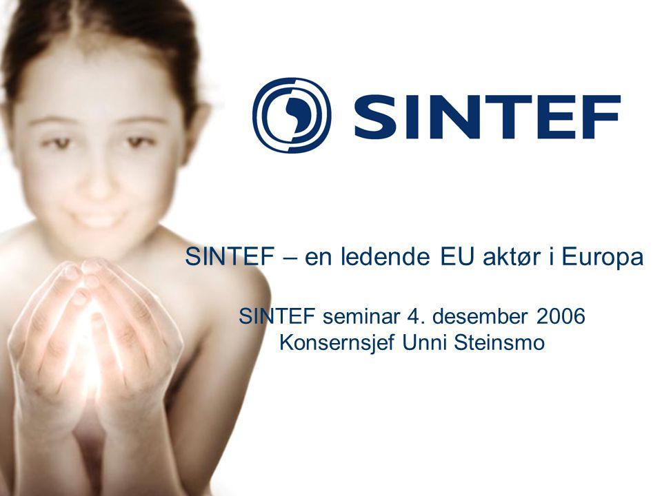 1 SINTEF – en ledende EU aktør i Europa SINTEF seminar 4. desember 2006 Konsernsjef Unni Steinsmo