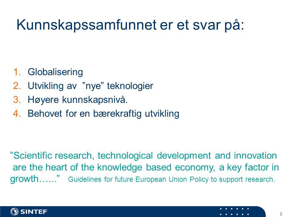 2 Kunnskapssamfunnet er et svar på: 1.Globalisering 2.Utvikling av nye teknologier 3.Høyere kunnskapsnivå.