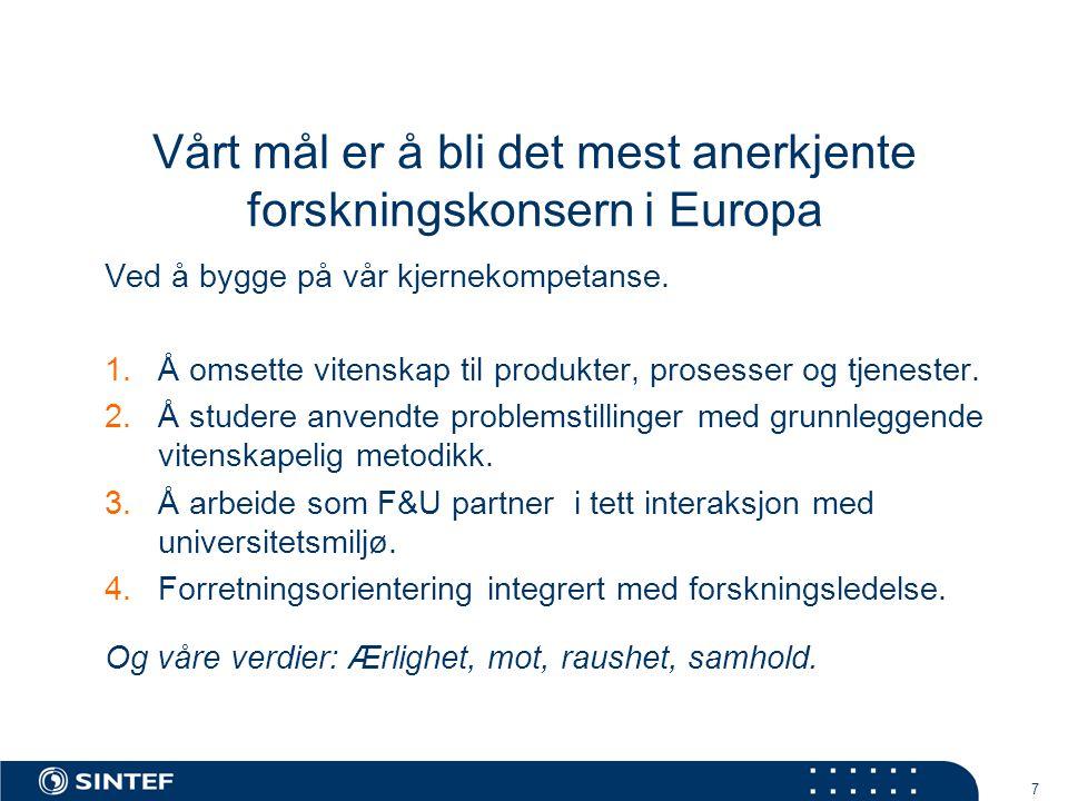 7 Vårt mål er å bli det mest anerkjente forskningskonsern i Europa Ved å bygge på vår kjernekompetanse.