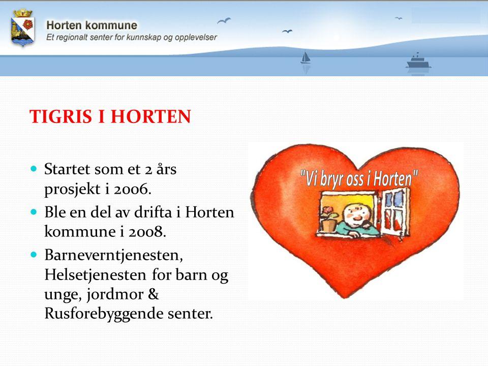 TIGRIS I HORTEN Startet som et 2 års prosjekt i 2006. Ble en del av drifta i Horten kommune i 2008. Barneverntjenesten, Helsetjenesten for barn og ung