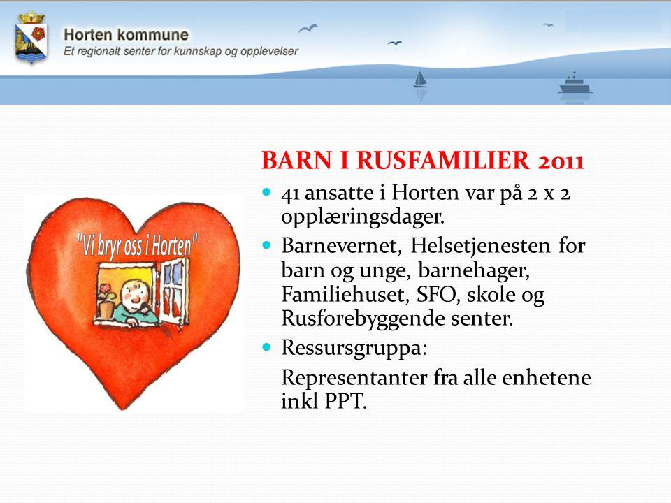 BARN I RUSFAMILIER 2011 41 ansatte i Horten var på 2 x 2 opplæringsdager. Barnevernet, Helsetjenesten for barn og unge, barnehager, Familiehuset, SFO,