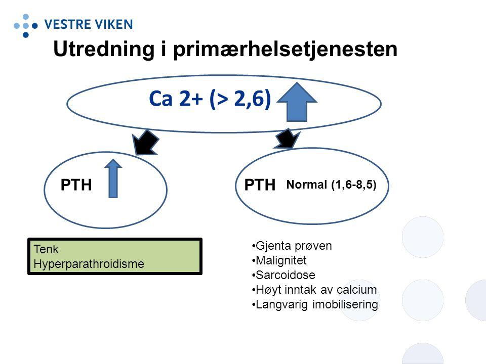 Ca 2+ (> 2,6) PTH Normal (1,6-8,5) Gjenta prøven Malignitet Sarcoidose Høyt inntak av calcium Langvarig imobilisering Tenk Hyperparathroidisme Utredni