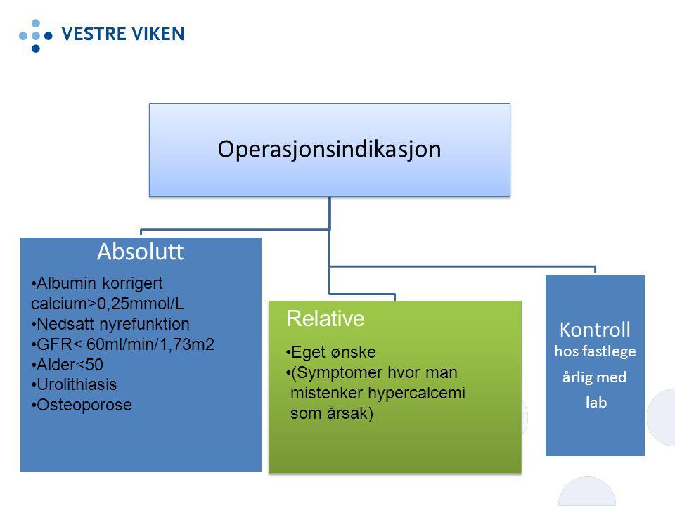 Operasjonsindikasjon Absolutt Kontroll hos fastlege årlig med lab Albumin korrigert calcium>0,25mmol/L Nedsatt nyrefunktion GFR< 60ml/min/1,73m2 Alder