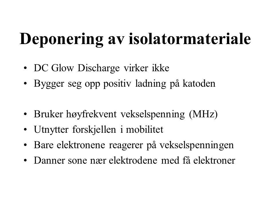 Deponering av isolatormateriale DC Glow Discharge virker ikke Bygger seg opp positiv ladning på katoden Bruker høyfrekvent vekselspenning (MHz) Utnytter forskjellen i mobilitet Bare elektronene reagerer på vekselspenningen Danner sone nær elektrodene med få elektroner