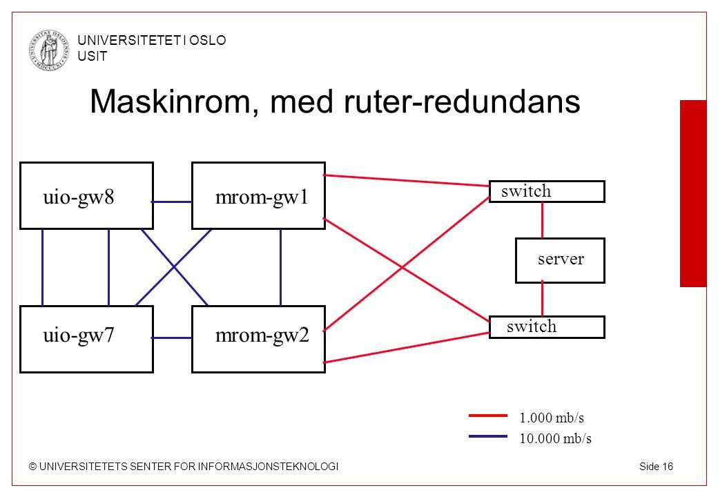 © UNIVERSITETETS SENTER FOR INFORMASJONSTEKNOLOGI UNIVERSITETET I OSLO USIT Side 16 Maskinrom, med ruter-redundans uio-gw7 uio-gw8 switch mrom-gw2 mro