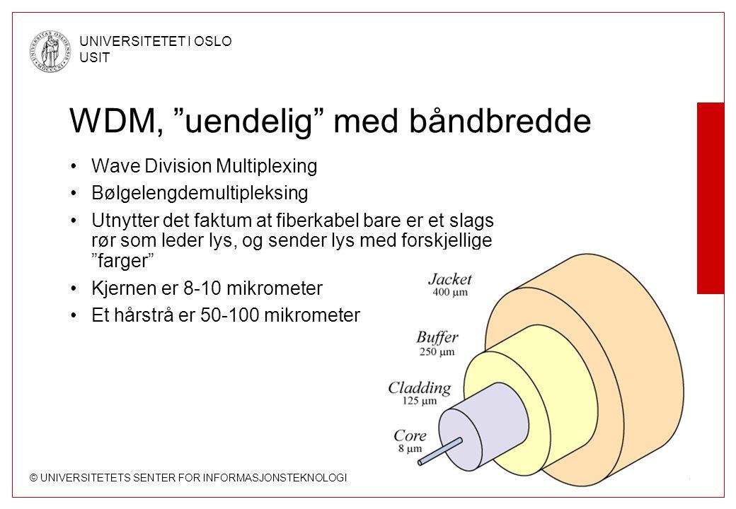 """© UNIVERSITETETS SENTER FOR INFORMASJONSTEKNOLOGI UNIVERSITETET I OSLO USIT Side 35 WDM, """"uendelig"""" med båndbredde Wave Division Multiplexing Bølgelen"""