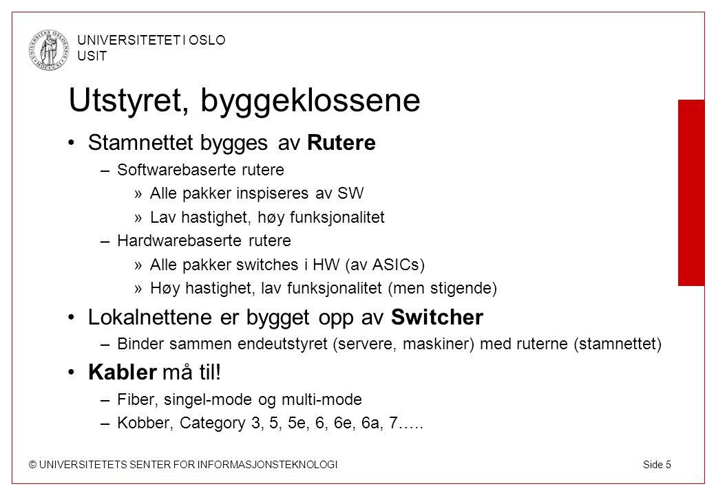 © UNIVERSITETETS SENTER FOR INFORMASJONSTEKNOLOGI UNIVERSITETET I OSLO USIT Side 36 UNINETT DWDM Samarbeider med BaneTele Dekker Oslo, Trondheim, Bergen og Tromsø –Men også mulig å hente ut (add/drop) bølgelengder underveis Utstyret takler 10G i dag og oppgraderbart til 40G/100G Etableres som punkt til punkt-systemer –Redundans på ruter-nivå, ikke på optisk/DWDM-nivå Mellom 4 og 20 bølgelengder for UNINETT i hver forbindelse