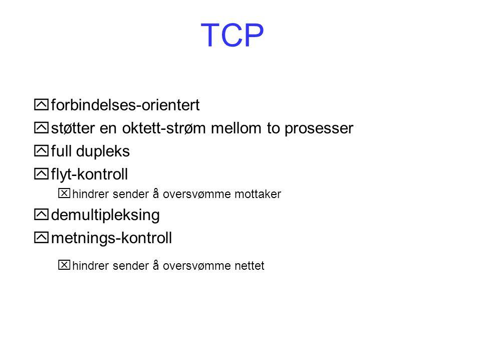 TCP yforbindelses-orientert  st ø tter en oktett-str ø m mellom to prosesser yfull dupleks yflyt-kontroll  hindrer sender å oversv ø mme mottaker yd