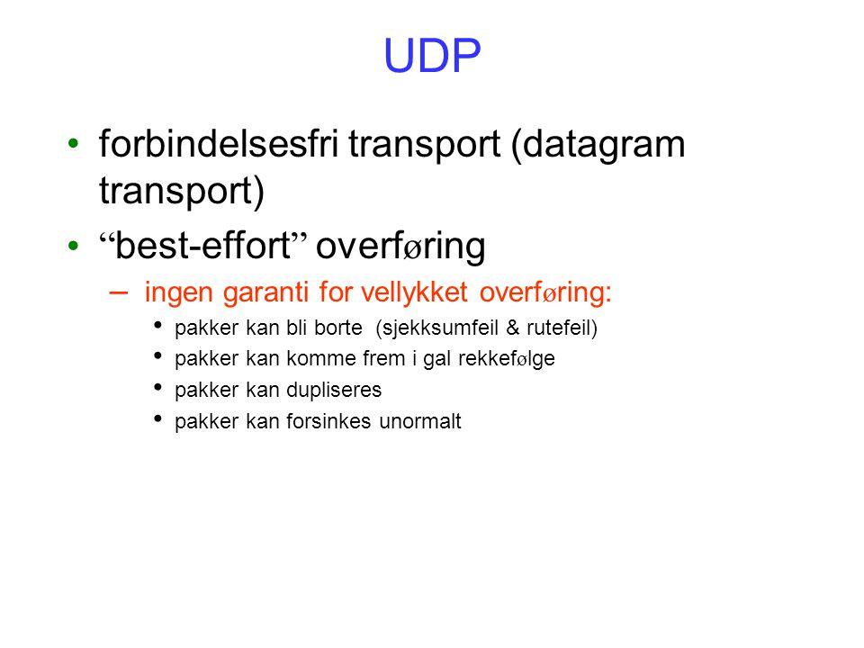 """UDP forbindelsesfri transport (datagram transport) """" best-effort """" overf ø ring – ingen garanti for vellykket overf ø ring: pakker kan bli borte (sjek"""