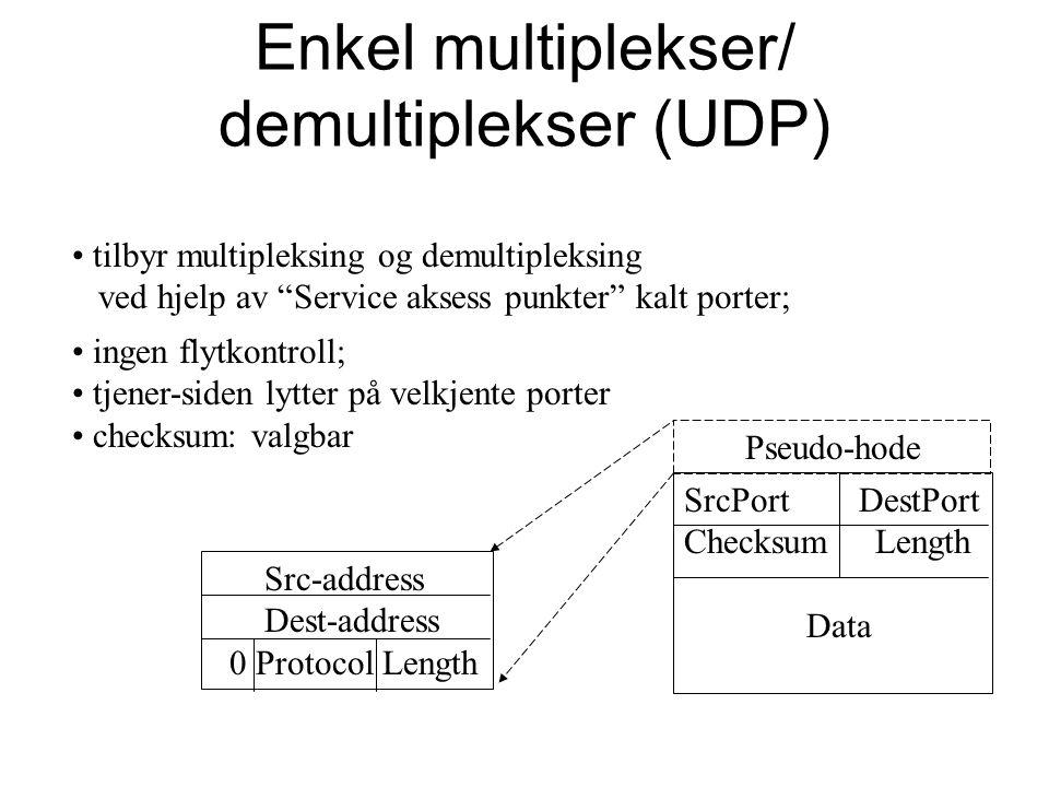 """Enkel multiplekser/ demultiplekser (UDP) tilbyr multipleksing og demultipleksing ved hjelp av """"Service aksess punkter"""" kalt porter; SrcPort DestPort C"""