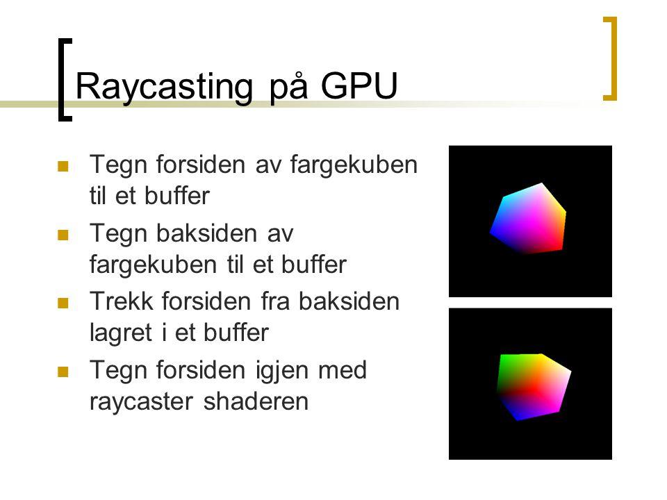 Raycasting på GPU Tegn forsiden av fargekuben til et buffer Tegn baksiden av fargekuben til et buffer Trekk forsiden fra baksiden lagret i et buffer Tegn forsiden igjen med raycaster shaderen