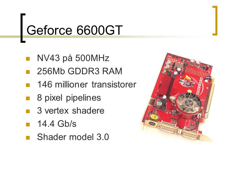 Geforce 6600GT NV43 på 500MHz 256Mb GDDR3 RAM 146 millioner transistorer 8 pixel pipelines 3 vertex shadere 14.4 Gb/s Shader model 3.0