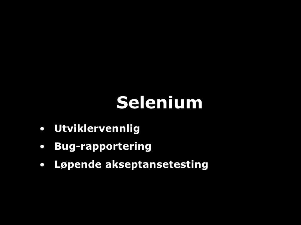JAFS15 Selenium Utviklervennlig Bug-rapportering Løpende akseptansetesting